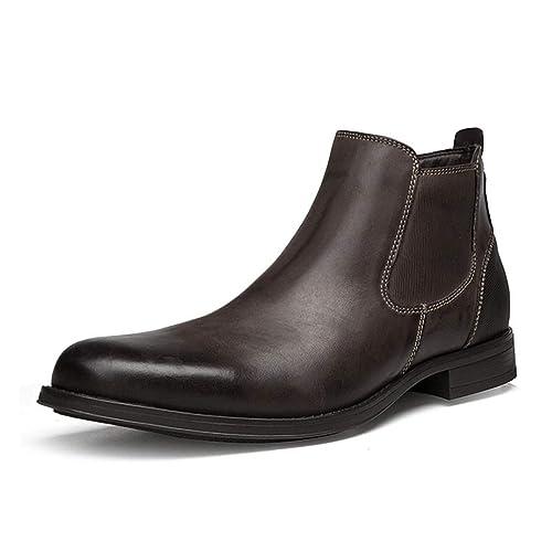 Botas De Chelsea para Hombre Botas De Invierno De Cuero Zapatos De Vestir Oxford Botas Cortas ...