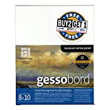 AMPERSAND ART SUPPLY Buy 2 Get 1 Gessobord Panel 1/8in (Deep) Flat 8X10 Bundle White