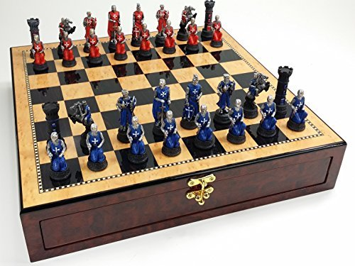 Medieval Times Crusades Warrior Red & Blue Chess Set Hand Painted w/ 17