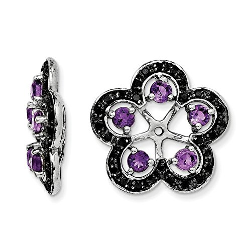 Sterling Silver Simulated Amethyst, Black Simulated Sapphire Earring Jacket + 2mm Black CZ Stud Earrings by Mireval (Image #1)
