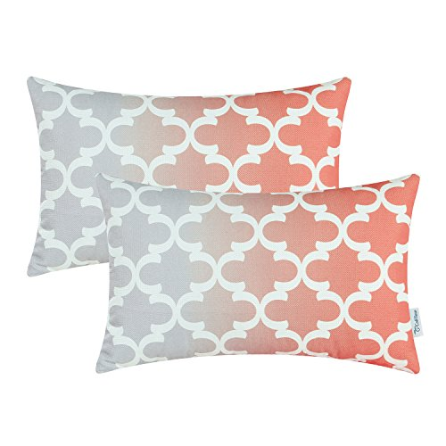 Pack of 2 CaliTime Canvas Bolster Pillow Covers Cases for Couch Sofa Home Decor, Modern Gradient Quatrefoil Accent Geometric, 12 X 20 Inches, Gray/Coral Pink