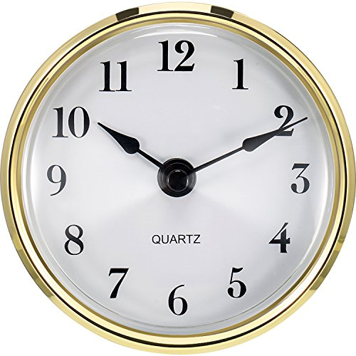 Hicarer 3-1/8 Inch (80 mm) Quartz Clock Fit-up/Insert with Arabic Numeral, Quartz Movement (Gold Trim)