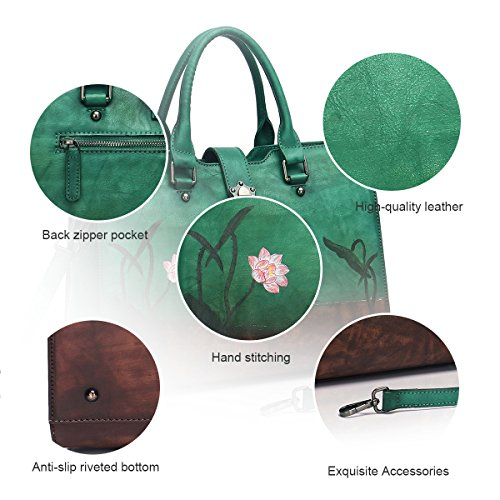 Leather Totes Designer Satchels APHISON Women 8196green for Soft Ladies Shoulder Handbags Bags nEUddtOx
