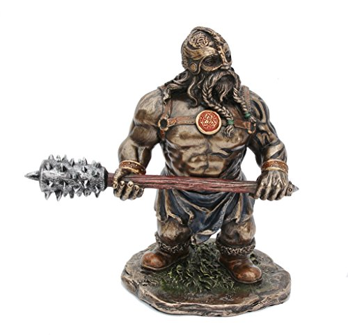 Viking Warrior With Long Spiked Club - Animation Style Metallic Bronze / Copper Finished 5.875 Inch Tall ()