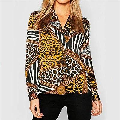 SETGVFG Blusa De Leopardo Casual Mujer Tops Blusa De Ocio Camisa Vintage Camisa De Manga Larga Cuello Bajo Chemisier Femme Plus Size XXL Amarillo: Amazon.es: Deportes y aire libre