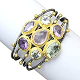 Rhodium and 18K Gold-Plated Base Seven (7) Gemstone Cuff Bracelet