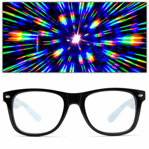 Neon Prism - GloFX Ultimate Diffraction Glasses - Black - 3D Prism Effect EDM Rainbow,Black,
