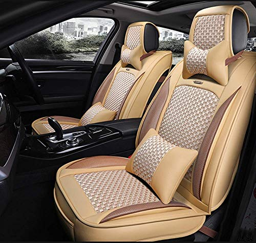AYCYNI PU Leather Ice-Silk Car Seat Cover- Anti-Slip Suede Backing Universal Fit Car Seat Cushion for Both Fabric And Leather Car Seats,Beige,Beige: Kitchen & Home