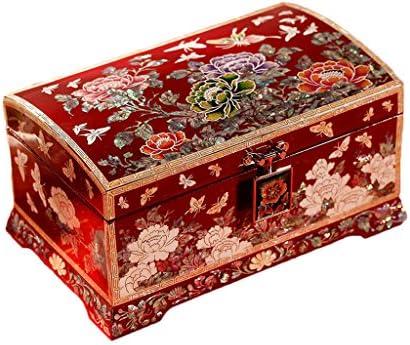 GWM ヴィンテージ木製ジュエリーボックス、パールネックレスブレスレットギフト収納オーガナイザーケース(レッド)