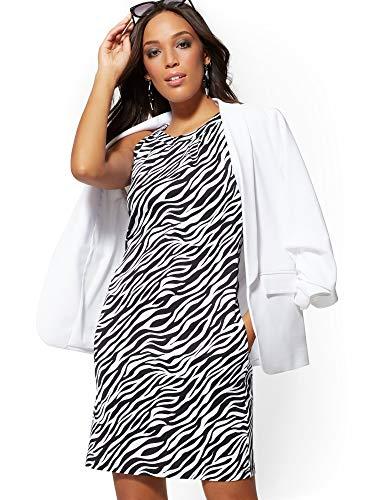 New York & Co. Women's Zebra-Print Cotton Halter Shift Dress Medium Paper White (Cotton Zebra Print Dress)