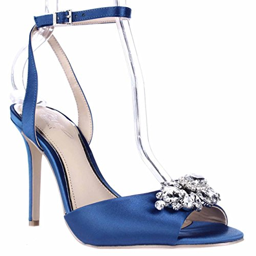 Satin Jewel Blue Blue Women's Mischka Strap Heels 425 Ankle Badgley Hayden qfzZq
