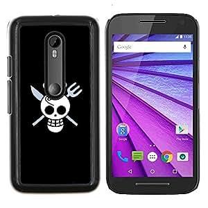 YiPhone /// Prima de resorte delgada de la cubierta del caso de Shell Armor - Cráneo divertido del cocinero de la Muerte - Motorola MOTO G3 / Moto G (3nd Generation)