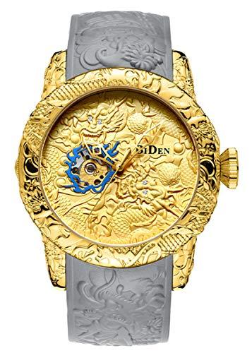 Automatic Watch for Men Fashion 3D Engraved Dragon Waterproof Big dial Sport Wristwatch (Gold)