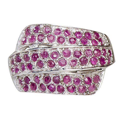 Precious Natural Rare African Ruby Trinity Flow Ring 925 Silver ()