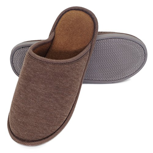 Moodeng House Slippers Memory Foam For Women Men Anti-Skid Indoor Slide Shoes Washable Lightweight Ladies Home Slipper (US 7-8.5 -Men, Brown) by Moodeng