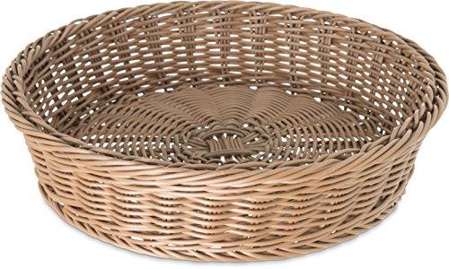 Carlisle 655525 Round Woven Basket/Tray, 11'' Dia. x 2-3/4'' H, Caramel (Case of 6) by Carlisle