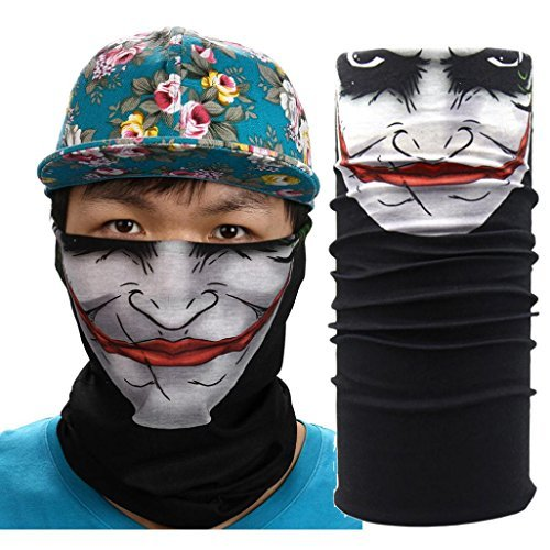 Face Masks 2 Pieces Skull Mask Half Face for Out Riding Motorcycle Black Seamless Multi Function Skull Tube Tubular Mask Headband Headwear Bandana Neck Warmer (E1)