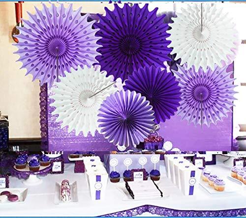 Purple Elephant Baby Shower Decorations Lavender Purple White 7pcs Honeycomb Tissue Paper Fan Flower for Purple Baby Shower Decoration Bridal Shower Decoration Purple Birthday Party -