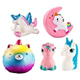 WATINC Random 4Pcs Unicorn squishy Sweet Scented Vent Charms Slow Rising squishies Kawaii Kid Toy, Lovely Stress Relief Toy, Animals Gift Fun Large(Red unicorn set)