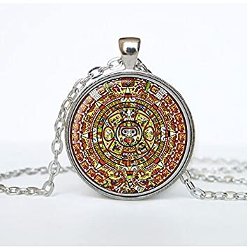 Amazon aztec calendar necklace sun stone pendant aztec aztec calendar necklace sun stone pendant aztec calendar jewelry the xiuhpohualli the sacred calendar mozeypictures Images
