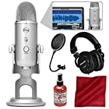 Blue Microphones Yeti Studio USB Microphone All-In-One Professional Recording System for Vocals with Tascam Headphones and Deluxe Bundle