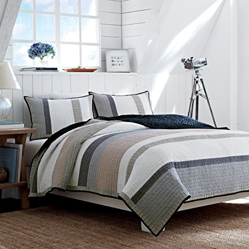 Nautica 201246 Cotton Reversible Quilt, Twin, - Blue Reversible Blanket