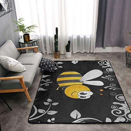 YOUNG H0ME Bedroom Living Room Kitchen Big Size Area Rug Home Art - Bumble Bee Floor Pad Rugs Fast Dry Bathroom Rug Mat Yoga Mat Throw Rugs Carpet, 63 x 48 Inch