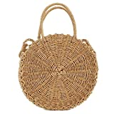 Meeto Straw Crossbody Bag Women Weave Shoulder Bag Straw Handbag Round Summer Beach Purse and Handbags Bohemia Style Beach Zipper Totes For Ladies Girls (Brown)