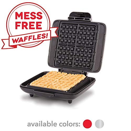 - DASH No-Drip Belgian Waffle Maker: Waffle Iron 1200W + Waffle Maker Machine For Waffles, Hash Browns, or Any Breakfast, Lunch, & Snacks with Easy Clean, Non-Stick + Mess Free Sides - Silver