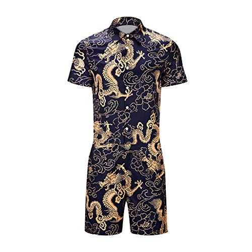 GREFER Retro Sets Summer Fashion Short Sleeve Printed Button-Down Shirts Pants Personality Fitted Suit Rompers Light Blue