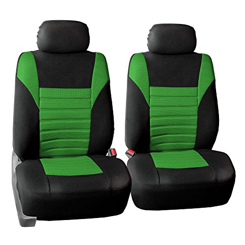 FH Group FH-FB068102 Premium 3D Air Mesh Seat Covers Pair Set (Airbag Compatible), Green/Black Color- Fit Most Car, Truck, SUV, or Van ()
