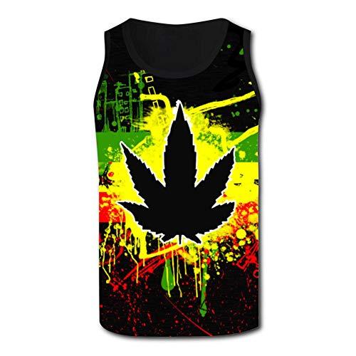SsSEYYA-4 Mary Jane Weed Trippy Men's Racerback Tank Tops Casual 3D Printed Tees Sleeveless Workout Yoga Shirt XXL Black (Tan Sonnenbrillen)
