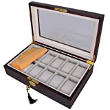 Elegant Wood 12 Compartment Watch Display Case Box with Lock and Key