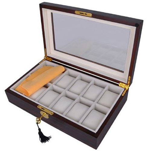 Inlaid Veneer Top - Elegant Ebony Wood Watch Display Case Box with Lock and Key for 12 Watches