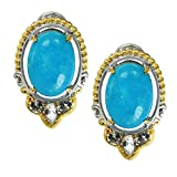 Michael Valitutti Palladium Silver Kingman Turquoise & White Topaz Omega Earrings