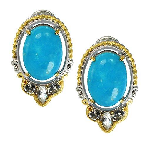 Michael Valitutti Palladium Silver Kingman Turquoise & White Topaz Omega Earrings by Michael Valitutti