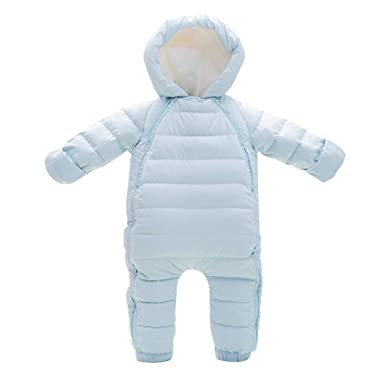 9fe1c9070893c4 Minizone Baby Mädchen Winter Overalls mit Kapuze Schneeanzüge Daunen  Strampler Spielanzug Footed Jumpsuit  Amazon.de  Bekleidung