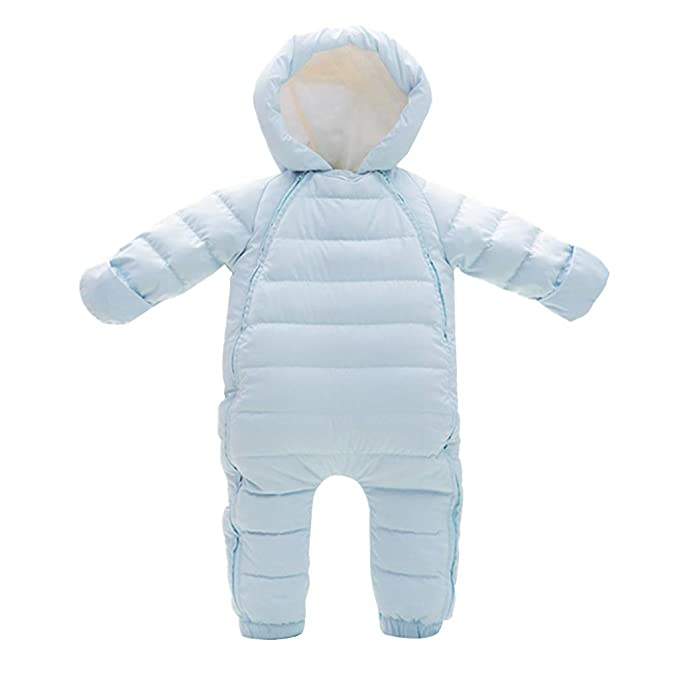 67a84b8ac0ea Minizone Baby Girls Hooded Rompers Down Snowsuits Footed Jumpsuit Thick  Onesies Winter Outfits  Amazon.co.uk  Clothing