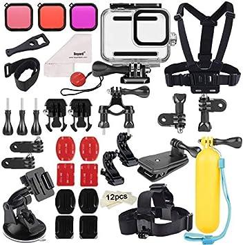 Deyard 52 en 1 Kit de Accesorios para GoPro Hero 8 Black, Funda Impermeable con 3 Filtros, Funda de Goma para Cuerpo/Cabeza/Correa de Muñeca/Clip de mochilas para el coche: Amazon.es: Electrónica