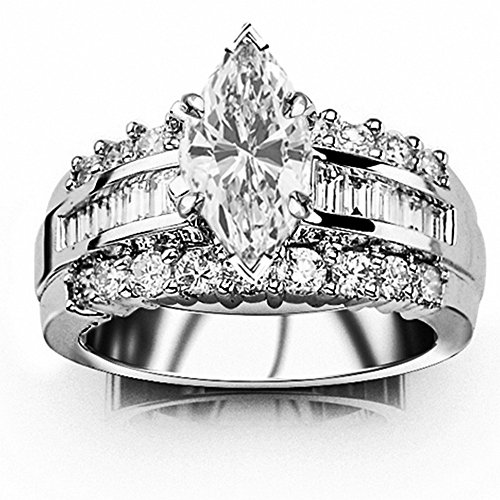 14K White Gold 1.62 CTW Channel Set Baguette and Round Diamond Engagement Ring w/0.52 Ct GIA Certified Marquise Cut H Color SI2 Clarity Center