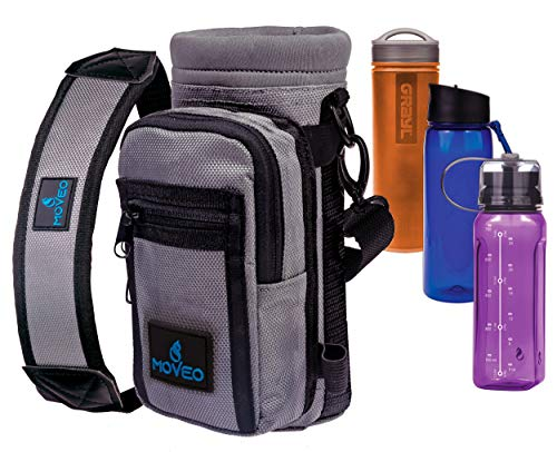 (Water Bottle Holder Carrier - Bottle Cooler w/Adjustable Shoulder Strap and Front Pockets - Suitable for 16 oz to 25oz Bottles - Carry Protect & Insulate Your Thermos or Hydro Flask)