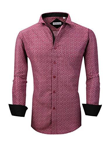 Mens Long Sleeve Printed Dress Shirts Casual Button Down Regular Fit Men Shirt (Long-Burgundy M)