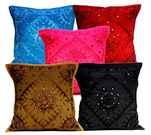 5Pcs-100Pcs Amazing India Multi Color Mirrorwork Traditional Cushion Covers Wholesale Lot by Amazingindiaonline