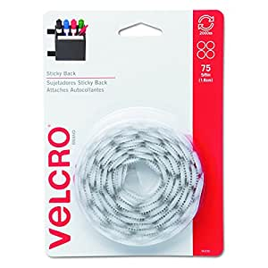 VELCRO Brand - Sticky Back Hook & Loop Fasteners, 5/8 Coins, 75 Sets, White