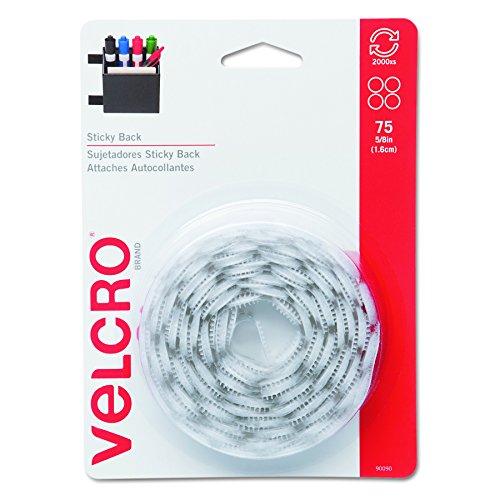 "Velcro 90090 Sticky-Back Hook & Loop Dot Fasteners, 5/8"", White (Pack of 75)"