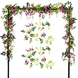 Felice Arts 2 Pcs Artificial Flowers 6.6ft/Piece Silk Wisteria Ivy Vine Green Leaf Hanging Vine Garland for Wedding Party Home Garden Wall Decoration (Rose Red)