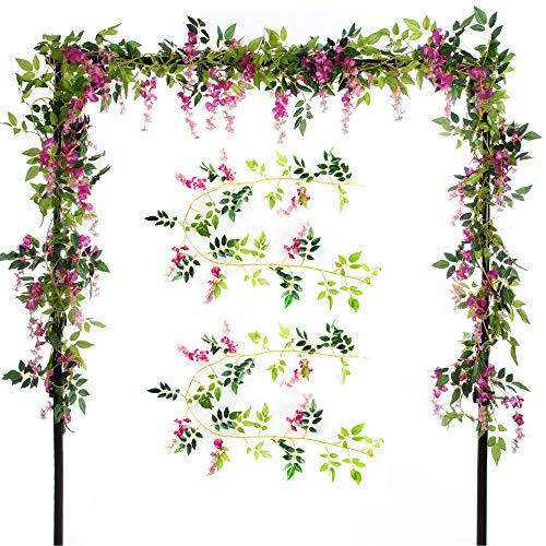 Enchanted Forest Decor (Felice Arts 2 Pcs Artificial Flowers 6.6ft/Piece Silk Wisteria Ivy Vine Green Leaf Hanging Vine Garland for Wedding Party Home Garden Wall Decoration (Rose Red))