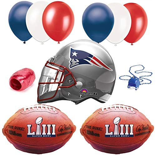 Super Bowl 53 New England Patriots Helmet Party 10pc Balloon Pack, Multi]()