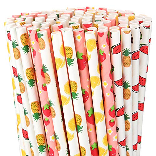 200 Pieces Paper Straws Fruit Pattern Drinking Straws Decorative Paper Straws Summer Party Drinking Straws for Hawaiian Birthday Wedding Party Decoration