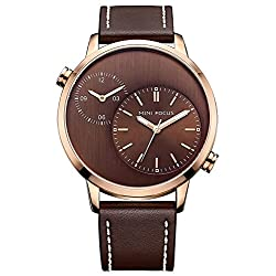MINIFOCUS Men Casual Watch Genuine Leather Band Dual Time Zone Waterproof Outdoor Quartz Wristwatch (Brown)